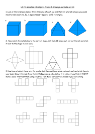3d shapes and nets matching activity by mcams82 teaching
