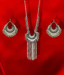 silver earrings necklace images Foxy trend silver oxidised drop classy luxury afghan tribal jpg