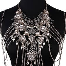 metal flower necklace images Best lady sexy diy summer body necklace chain luxury chunky metal jpg