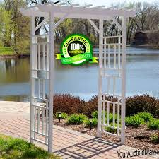 arbor trellis archway gazebo pergola backyard wedding garden lawn