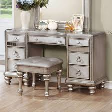 coaster bling game metallic platinum 7 drawer vanity desk