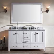 White Double Sink Bathroom Vanities by Ace 61 Inch Double Sink Bathroom Vanity Set In White Finish
