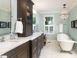 traditional master bathroom with flat panel cabinets u0026 master