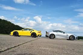jaguar f type vs porsche 911 jaguar f type svr vs porsche 911 turbo auto express