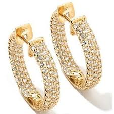 yellow gold earrings 14k white or yellow gold pave set diamond inside out hoop ea