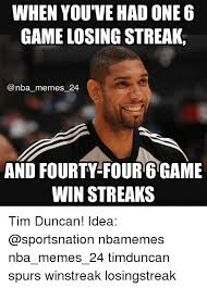 Tim Duncan Meme - when you ve ad one 6 game losing streak nba memes 24 and fourty