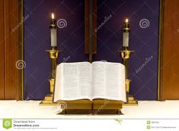 bible and candles on altar royalty free stock photo image 3855405