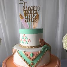 boho cake topper for baby shower or first birthday feathers and