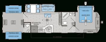 5th Wheel Camper Floor Plans by Rv With Bunk Beds Floor Plans 2 Bedroom Fifth Wheel Floor Plans