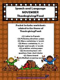 november speech theme thanksgiving food 20 page packet tpt