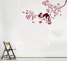 simply diy nursery wall decals and stickers cute monkey and pink flower blossom tree peel and stick wall decals