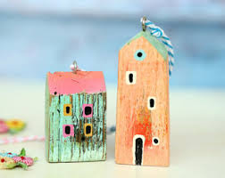 felt ornaments handmade felt houses colourful