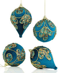 ornaments set of 4 assorted peacock velour