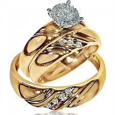 wedding rings his hers wedding rings set trio men women 10k yellow gold real diamonds