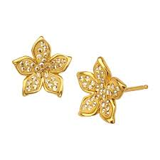 flower stud earrings flower stud earrings with swarovski in 14k gold plated