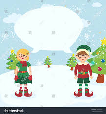 bubble speech christmas elves glasses couple stock vector