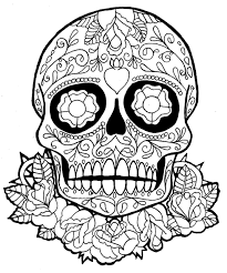 skull coloring pages for teen sugar skull dia de los muertos
