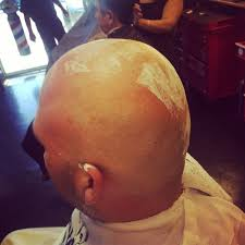 full head shave using straight razor done by mj the barber owner