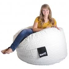 4 foot round white fur and foam large kid bean bag chair free