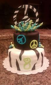 peace sign zebra stripe birthday cake birthday cake cake ideas