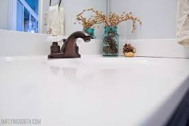 Corian Moulded Sinks by Remodelaholic Painted Bathroom Sink And Countertop Makeover