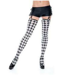 stockings black ruffled hotpants with checker print stockings