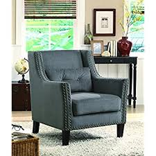 Accent Chairs In Living Room by Amazon Com Poundex Boskone Ansley Microfiber Accent Chair Light