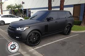 pink and black cars range rover autobiography wrapped in 3m deep matte black car wrap