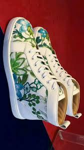 christian louboutin white green flower print high sneakers