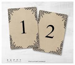 wedding table numbers template rustic leaves table numbers template happy digital download