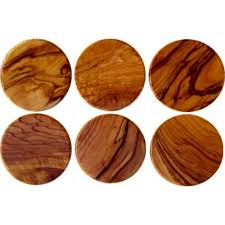 bethlehem olive wood olive wood coasters set of 6 kw04