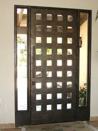 Modern Exterior Doors Black Stained Wooden Single Half Glass Modern Front Doors With 5