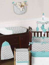 zig zag turquoise u0026 gray chevron print crib bedding set blanket