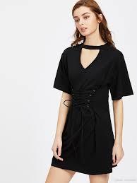 2017 the new waist black skirt short sleeved t shirt dress