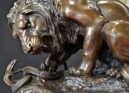 barye lion sculpture wms trade 20 kg execution lion fighting with a snake signed a barye