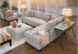 Rooms To Go Living Room Set Cindy Crawford Home Calvin Heights Platinum 3 Pc Xl Sectional