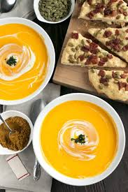 curried roasted butternut squash soup with bacon pumpkin seed