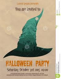 vintage halloween illustration vintage halloween party witch poster stock vector image 59998027