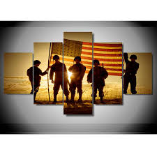 Soldier With Flag Soldiers With The American Flag Wall Art Multi Panel Canvas