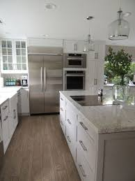 New River Cabinets White Cabinets Gray Island River White Granite Gray Subway Tile