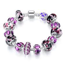 murano glass beads charm bracelet images Silver charm bracelet with purple murano glass beads morrison jpg
