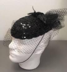 funeral hat vintage 70 s black beaded funeral hat widow mesh netting veil