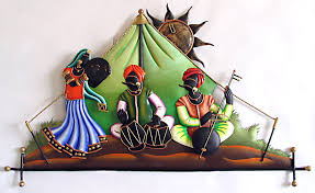 Rajasthani Musicians In The Desert Wall Hanging Wrought Iron - Indian wall hanging designs
