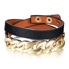 gold chain leather bracelet images Stylish gold chain leather bracelet mamaboss co jpg