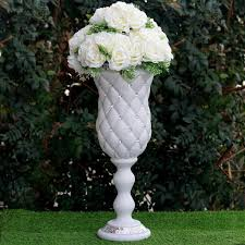 White Pedestal Flower Stand 6 Pcs 10mm Crystal Studded White French Inspired Decorative