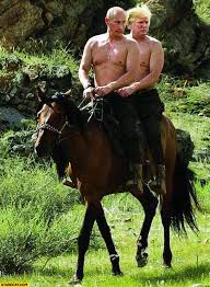 Horse Riding Meme - putin and trump riding one horse together with naked chests