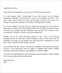 4 sample recommendation letter for scholarship from