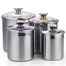 kitchen canister sets stainless steel amazon com cooks standard 02553 4 piece canister set stainless