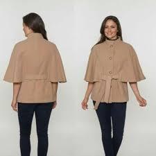 womens faux cashmere cape jacket