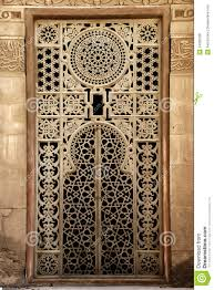 window ornament of islamic ancient in stock photo